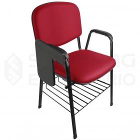 Cadeira Universitária Recepção Estofada Porta-Livros