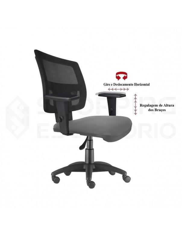 Cadeira Giratória Gerente Tela Apoio Lombar Regulável Base Nylon