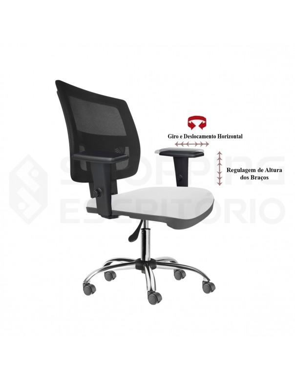 Cadeira Giratória Gerente Tela Apoio Lombar Regulável Base Cromada