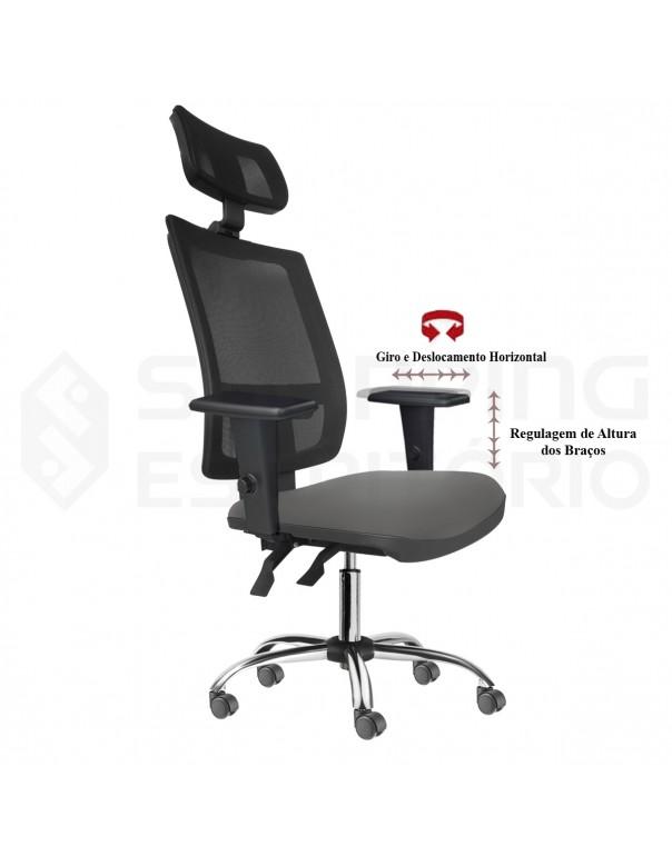 Cadeira Giratória Ergonômica Back System Presidente Tela Apoio Lombar Regulável Apoio Cabeça Regulável Base Cromada