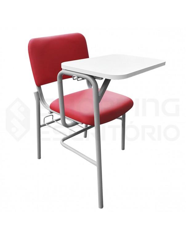 Cadeira Universitária Com Porta-Livros Recepção Estofada Prancheta Fixa