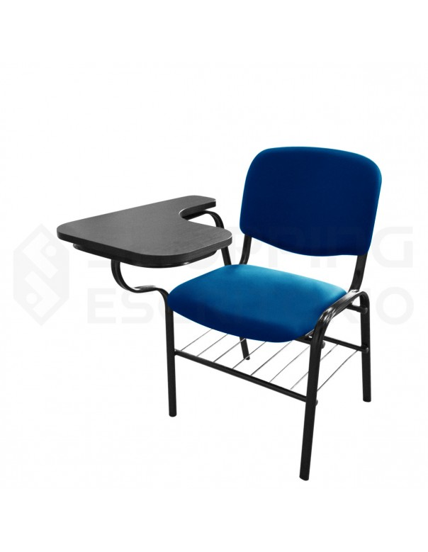 Cadeira Universitária Com Porta-Livros Recepção Estofada Prancheta Retrátil