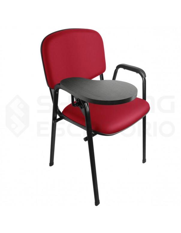 Cadeira Universitária Recepção Estofada Sem Porta-Livros Prancheta Escamoteável