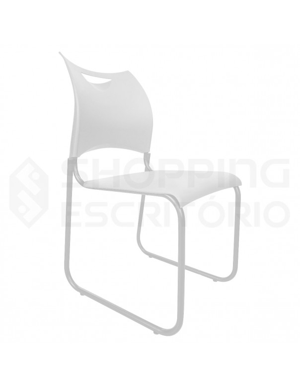 Cadeira Fixa Design PP Base Trapézio Cinza