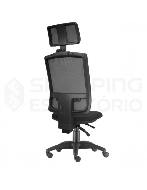 Cadeira Giratória Ergonômica Back System Presidente Tela Apoio Lombar Regulável Apoio Cabeça Regulável Base Nylon
