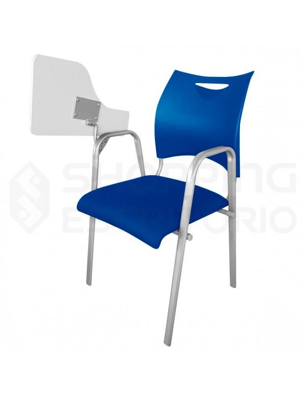 Cadeira Universitária Braço Fixo Tubo Oblongo Design PP Assento Estofado