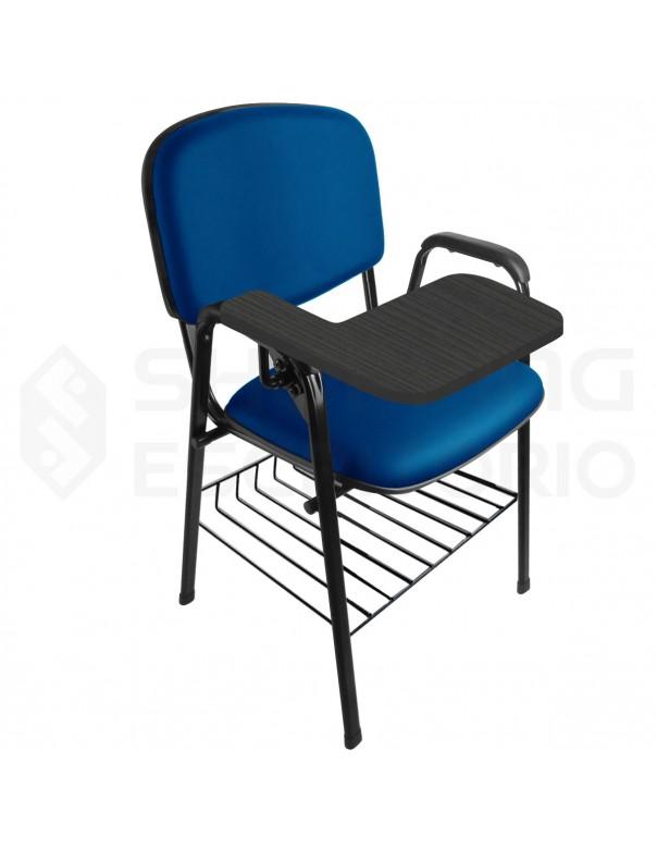 Cadeira Universitária Recepção Estofada Capa de Proteção PP Com Porta-Livro