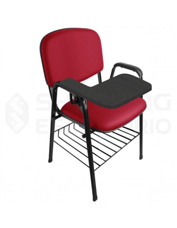 Cadeira Universitária Recepção Estofada Com Porta-Livros Prancheta Escamoteável