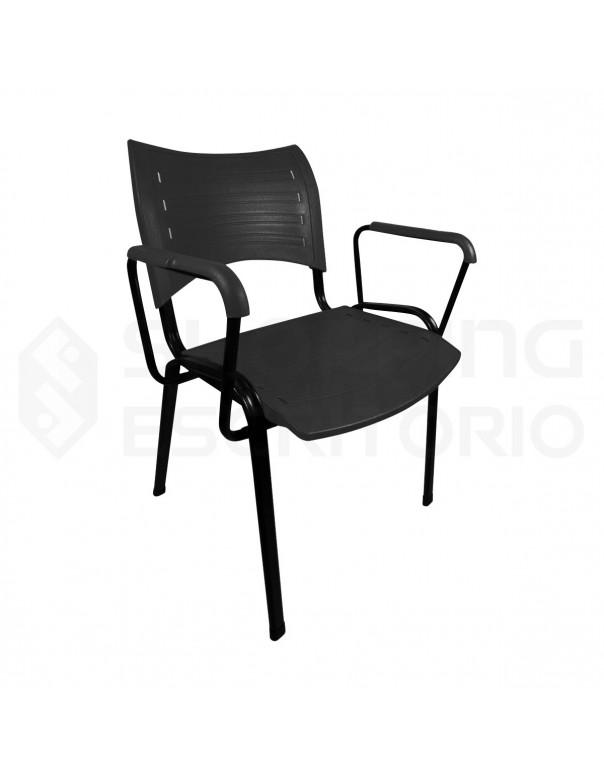 Cadeira Plástica PP Com Braço Revestido