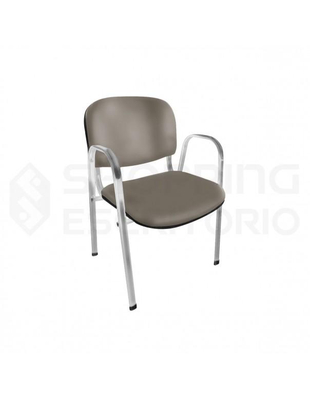 cadeira fixa empilhavel recepção estofada
