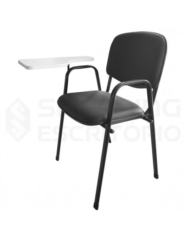 Cadeira Universitária Recepção Estofada Capa de Proteção PP Prancheta Fixa