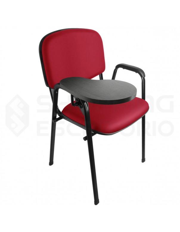 Cadeira Universitária Recepção Estofada Capa de Proteção PP Sem Porta-Livros Prancheta Escamoteável