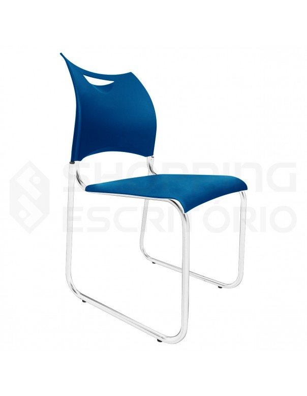 Cadeira Fixa Design PP Base Trapézio Cromada